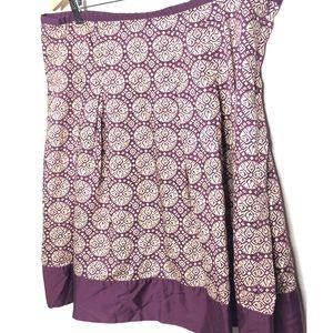 Talbots purple medallion taffeta skirt Size 18